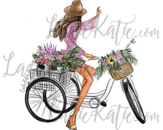 bikes and blooms, feminine, floral Motivational art, inspirational art, easter, spring time, girly print, gifts for her, flower lover