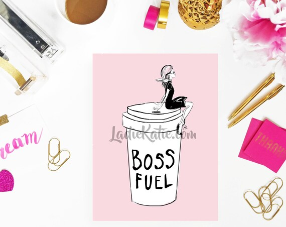 Coffee lover print, boss print, fashionista print, girly illustration, girly girl art, girly art, fashion sketch