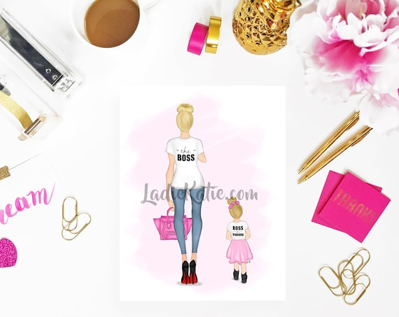Boss in training, mommy and me art, mom boss, mother daughter art, Girl Boss Art, Girly Print, Boss Print, Girly Art, Little girls room