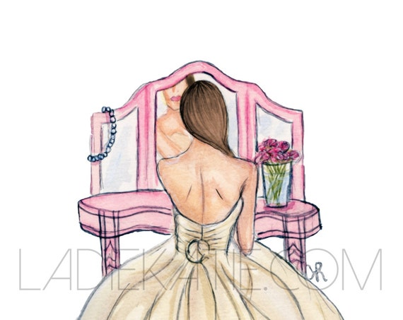 wedding print, bride art, bride painting, tie the knot, bride print, wedding art, wedding illustration, bride gift