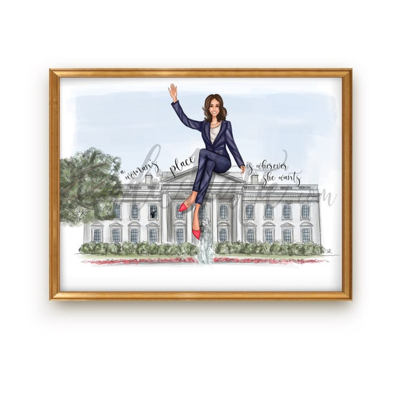 Kamala Harris, Vice President, 2020 election, the future is female, graduate, 2020 graduation, grad gift, graduation gift, fashion sketch