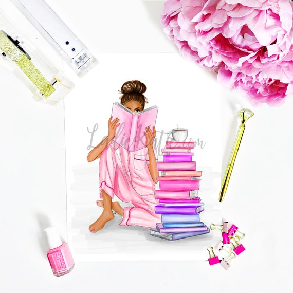 book worm, book lover, teacher print, teacher art, relax, read, grad gift, teacher gift, bossy art, bossy print, fashion sketch, fashion art