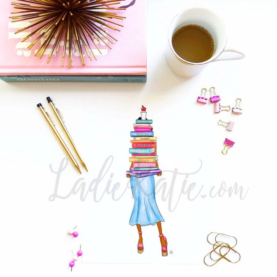 teacher print, teacher art, book worm, book lover, read, grad gift, teacher gift, bossy art, bossy print, fashion sketch, fashion art