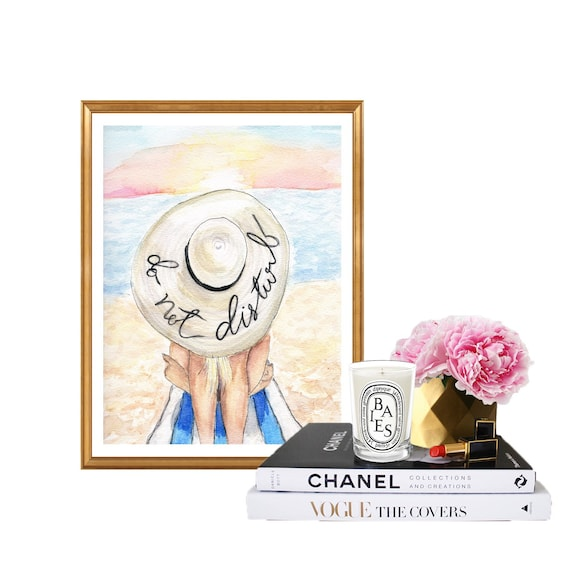 Do not Disturb, print of original beach themed summer watercolor, Fashion art, summar art beach art beach babe