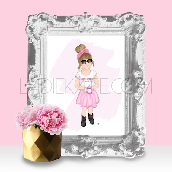Print of girlboss in training, girly girl print, little girlboss print, girly bedroom print, mother daughter art, little girl art