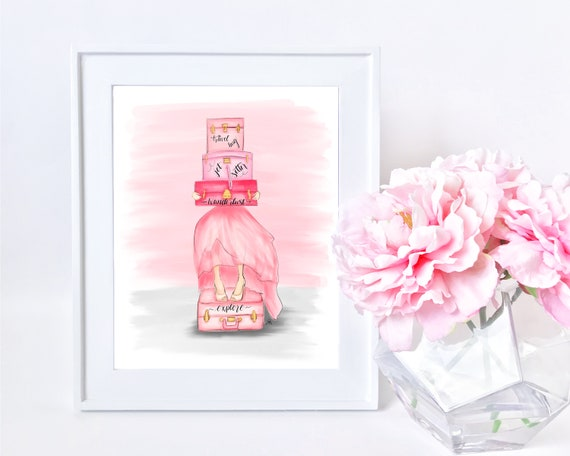 Travel bug, wanderlust, jet setter, girly illustration, girly girl art, girly art, fashion sketch, pink lover, gifts for her