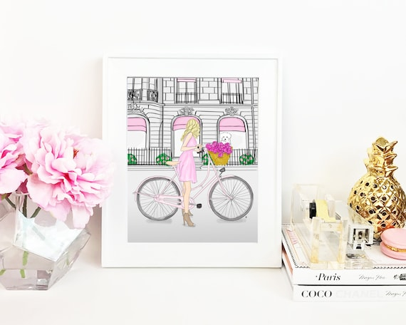 Blonde on a Bike, Brunette on a Bike, girly illustration, girly girl art, girly art, fashion sketch, dog lover fashionista print
