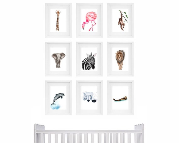 Nursery art, nursery room art, nursery prints, nursery paintings, babyshower gift, animal paintings, baby room art, baby room