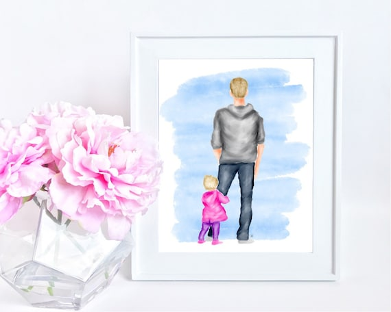 Father daughter painting, father daughter print, father daughter art, father art, gifts for dad, best dad, dad gift, Father's Day gift