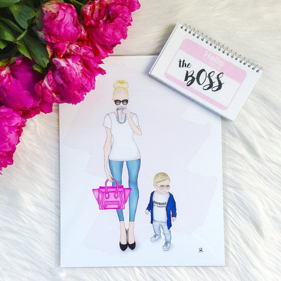 Momboss print, mom print, mom boss, mom art, gifts for her, gifts for mom, mother son art, mom wall art, mother son print, custom mom art