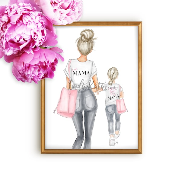 mommy and me art, girly art, girly print, little girl, mom print, girls room, girly decor, mother daughter art, mother's day, gifts for her