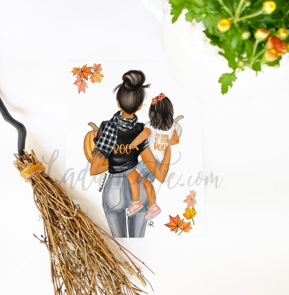 mama is my boo, halloween, fall, mommy and me, girl mom, boy mom, girly art, girly print, little girl, mom print, mother daughter art