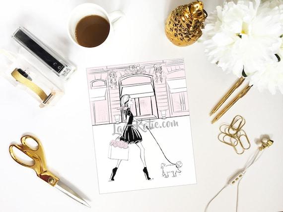 Shopaholic illustration, shopping addict, fashionista print, girly illustration, girly girl art, girly art, fashion sketch, dog lover