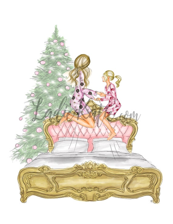 Christmas, mommy and me, mother daughter art, mother daughter print, gifts for mom, girly print, little girls room