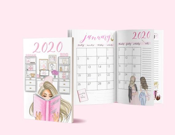 Inspirational 2020 planner, 2020 planner, motivational planner, Girl Boss calendar, boss calendar, boss planner, girly calendar,