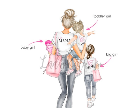 ADD A CHILD, mommy and me, girly art, girly print, little girl, mom print, girls room, girly decor, mother daughter art, gifts for her