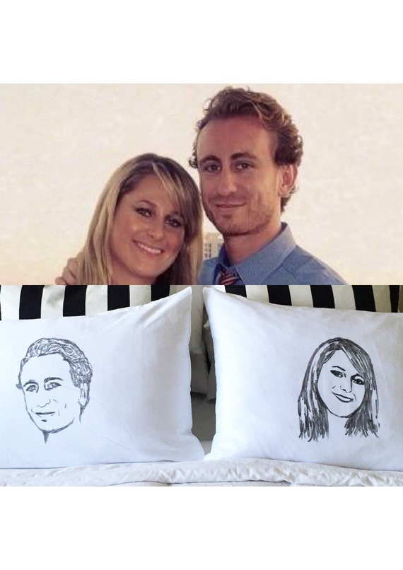 Two Custom Handpainted Couple Bed Pillows