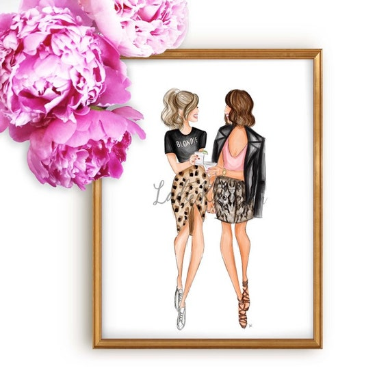 besties print, bff print, drinks, cheers, blonde, brunette, girly art, gifts for her, fashion lover, girly print, besties, best friend art
