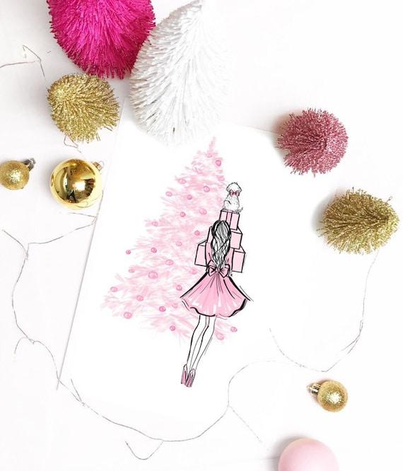 Christmas illustration, holiday illustration, christmas decor, dog lover, christmas print, gifts for her, maltese, pink Christmas, pink love