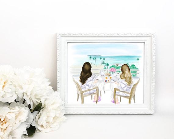 Brunch, Best Friend illustration, best friend print, BFF print, BFF art, Best friend Art, besties print, besties art, gifts for her