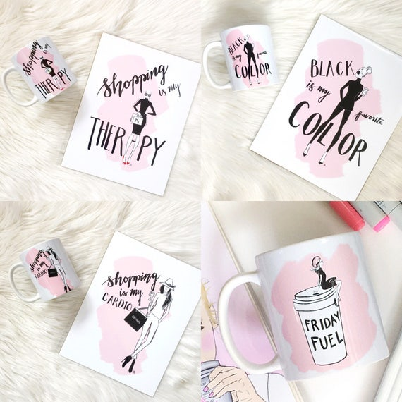 Shopaholic mug, Fashion mug, girly mug, Fashion illustration, Fashion sketch, shopping lover, shopping addict, gifts for her