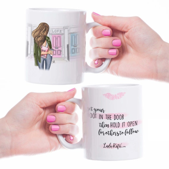 Girl power mug, strong woman, Motivational mug, inspirational mug, inspire, girly mug, bossy mug, boss mug, fashion sketch, feminist mug
