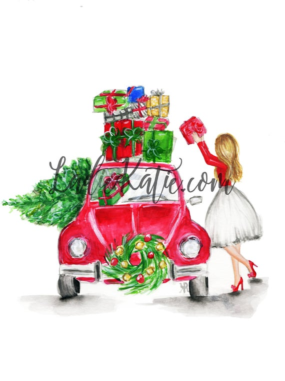 Christmas illustration, Christmas gift, holiday illustration, christmas decor, christmas decorations, christmas print, gifts for her, santa
