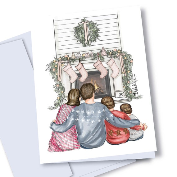 Christmas card download, Family portrait, Family art, family photo, family illustration, holiday photo, family Christmas, holiday card