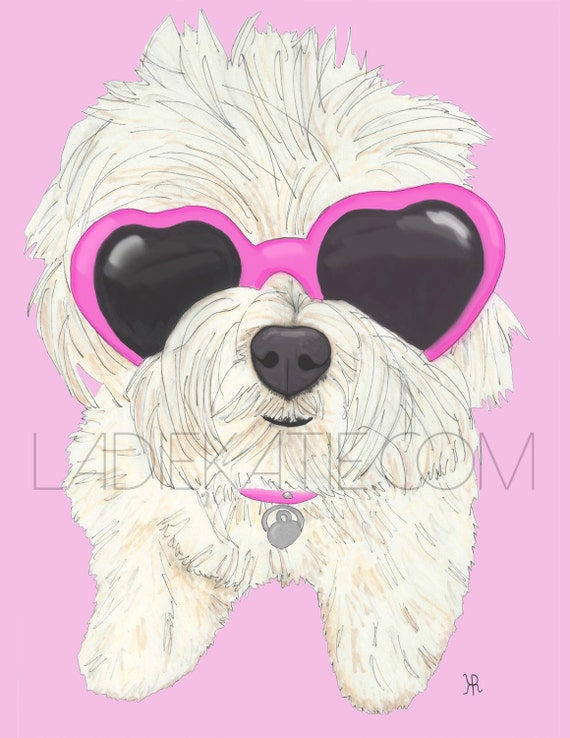 OM effin G, print of my original dog pop illustration with pink, blue or purple background, Maltese Art