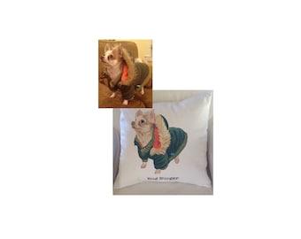 Custom full color, realistic, Pet Portrait Pillow, Pet Pillow, Dog Portrait Pillow
