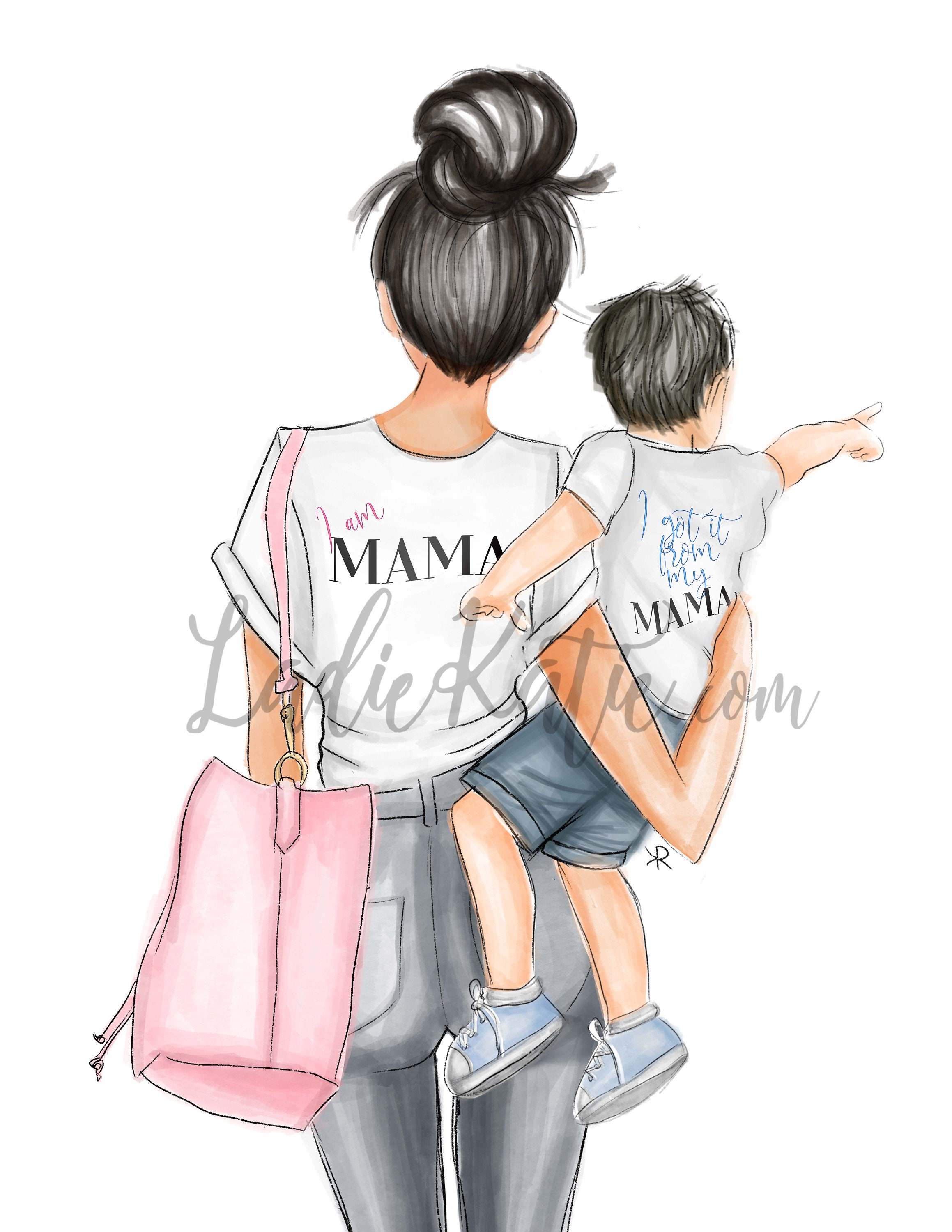 Cool Mom with Little Boy Mother/'s Day Gifts | Mother/'s Day bag | Mother/'s Day  | Mom Bag Bag By Melsy/'s Illustrations BrunetteBlonde