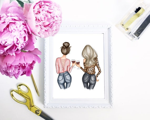 besties print, bff print, wine lover, wine art, girly art, gifts for her, fashion lover, girly print, besties, best friends, customizable