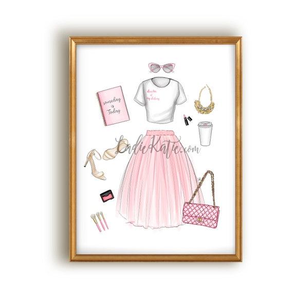 Motivational print, inspirational print, inspire, inspirational art, motivational art, bossy art, bossy print, fashion sketch, fashion art