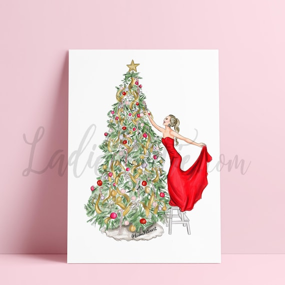 Christmas illustration, Christmas gift, holiday illustration, christmas decor, holiday art, christmas print, gifts for her, Santa Claus