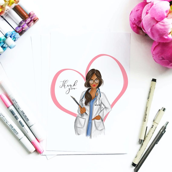 Thank you, doctor, nurse, health care, motivational art, girly art, gifts for her, quarantine, gifts for her, fashion illustration, corona