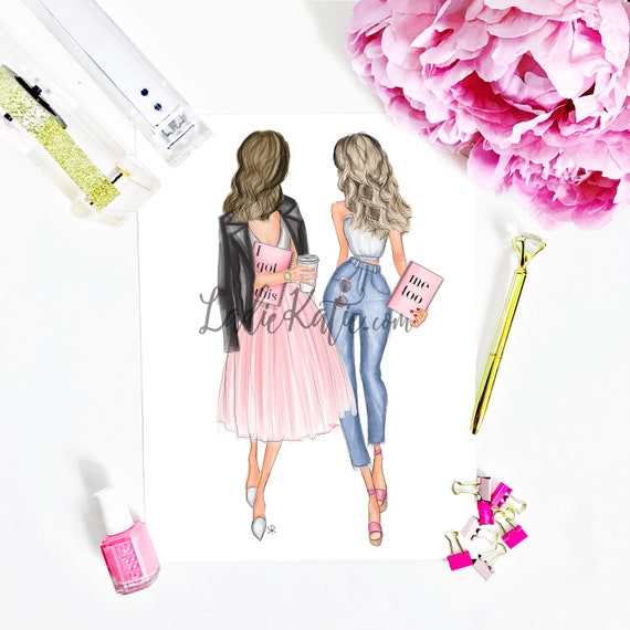 I got this, blonde, brunette, besties print, bff print, girly art, gifts for her, girly print, besties, best friend art, best friend gift