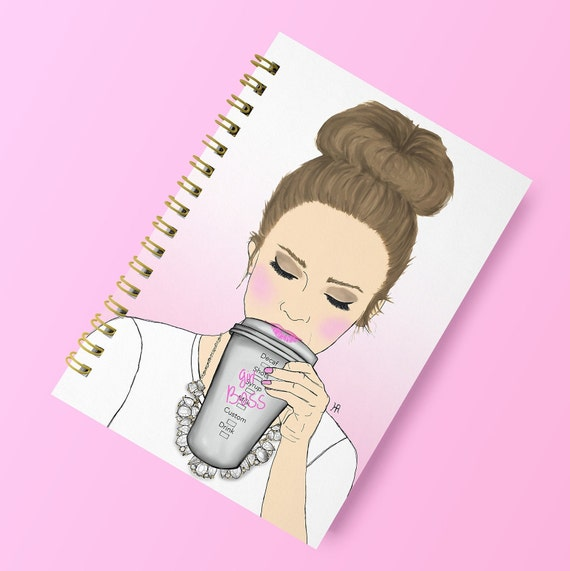 Girlboss notebook, Custom notebook, Boss notebook, Girly notebook, girly stationary, girly journal, bossy stationary, gifts for her