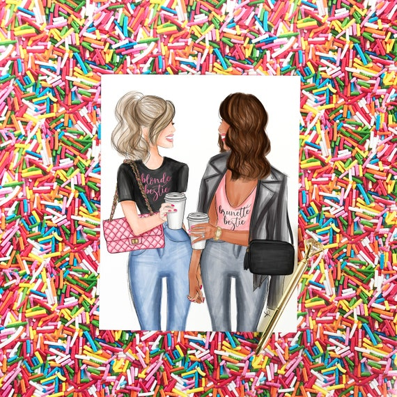 blonde, brunette, besties print, bff print, coffee, girly art, gifts for her, girly print, besties, best friend art, best friend gift