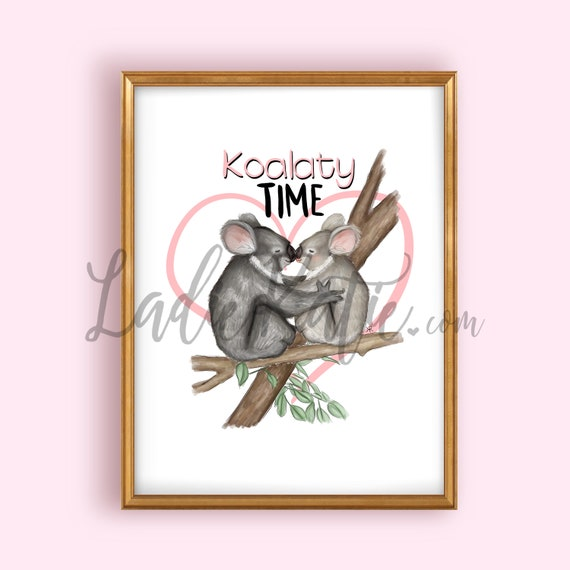 Australia art, Australia print, koala art, koala illustration, nursery art, nursery wall art, children's room, baby's room, animal art