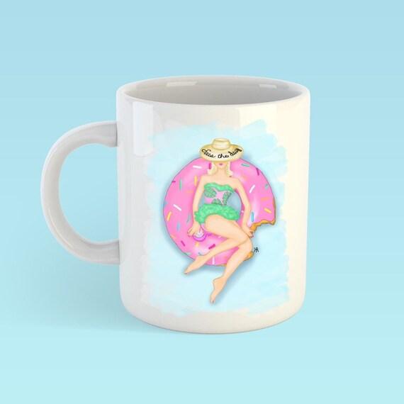 Beach Mug, seas the day, Fashion mug, girly mug, Fashion illustration, Fashion sketch, summer mug, gifts for her, coffee lover