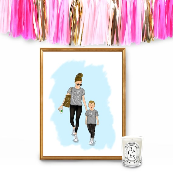 Mother son art, Girl Boss Art, Momboss, mini me, chic mom, fashionista, mom and son, mommy and me, mommy and me print, momlife, mom art
