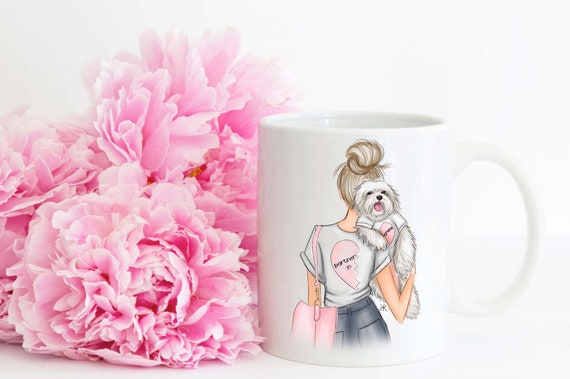 Dog lover, maltese, dog mug, Best friends mug, best friends, besties mug, coffee lover, Fashion mug, girly mug, bff mug, bff gift