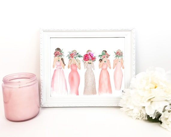 bridesmaid gift, wedding print, bride art, bride painting, tie the knot, bride print, wedding art, bride gift, bridesmaid gift