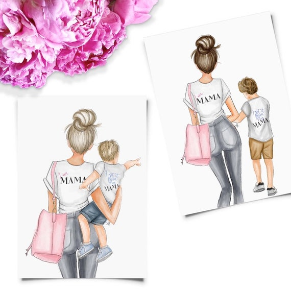Boy mom, mommy and me art, girly art, girly print, mom print, boys room, girly decor, mother son art, mother's day, gifts for her, mom life