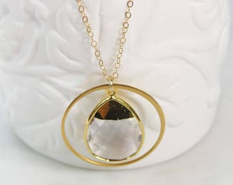 Clear Gemstone Necklace/ Simple Gold Jewelry/Halo Pendant/Quartz Crystal/Handmade/Gold Dipped Stone/Teardrop/Wedding Jewelry/Bridesmaid Gift