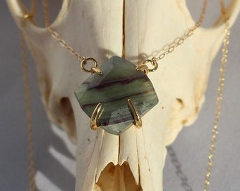 Gemstone Necklace/Summer/Gemstones/Fluorite Necklace/Green/Purple/Pendant Necklace/14k Gold/ Handmade/Gold Necklace/ Gifts for Her