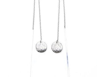 Ear Threaders/ Long Silver Earthreads/ Silver Threader Earrings/Silver Geometric Earrings/ Silver Dangle Earrings/ Sterling Silver / Jewelry