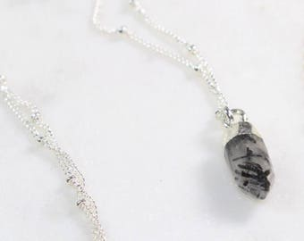 Sterling Silver Necklace/Quartz Necklace/Rutilated Quartz/Crystal Point Pendant/Layering Necklace/Boho/ Dainty Jewelry/ Handmade