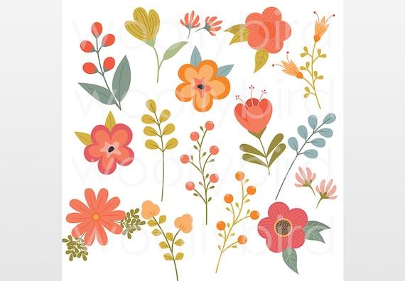 Spring Flower Clipart Floral Clip Art Pink Orange Flower Etsy