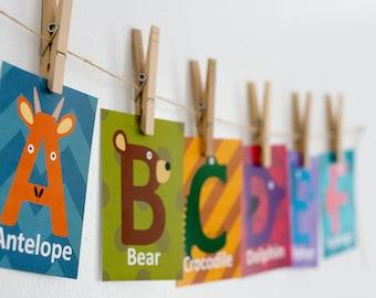 Animal Alphabet Cards, Nursery Wall Art, Animal Wall Cards, Alphabet Print, Nursery Decor, Flash Card Set (FC-25-043)